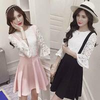 Đầm yếm xòe phối áo ren Korea