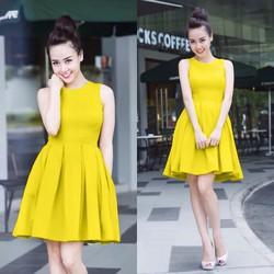 Đầm Xòe Vintage Xếp Ly Dễ Thương