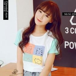áo thun nữ mặt mèo dễ thương - 0503