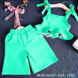 Bộ croptop phối bèo quần ống rộng dễ thương cho bé gái 1 - 8 tuổi