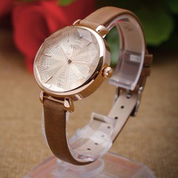 Đồng hồ Nữ dây da vát kính đa giác JU1086 NÂU - Thương Hiệu