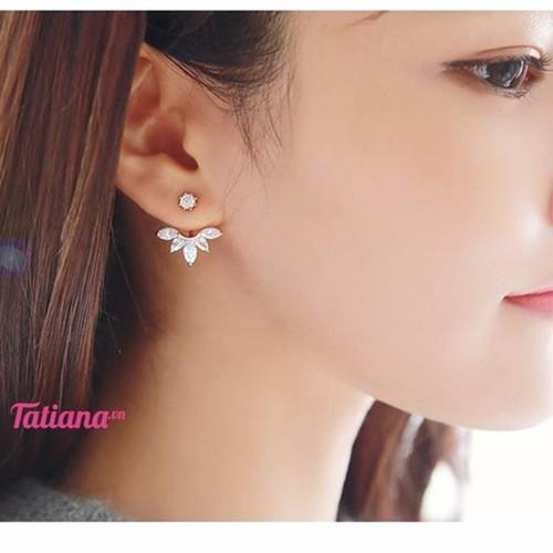 TATIANA - BÔNG TAI EAR JACKET HOA ĐÁ MÀU VÀNG B2089