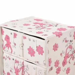 Tủ vải cao cấp 5 ngăn khung cứng chống thấm họa tiết hoa văn xinh xắn