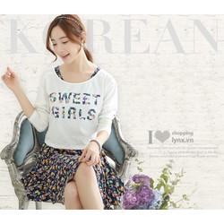 Đầm xòe phối áo thun dài tay phong cách Hàn Quốc xinh xắn C4996