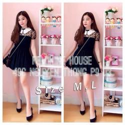 Set áo cổ sen lưới bi chân váy đen femi sành điệu LVS06