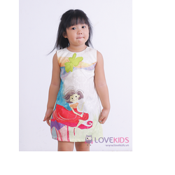 Đầm gấm cao cấp xuông in hình cô gái
