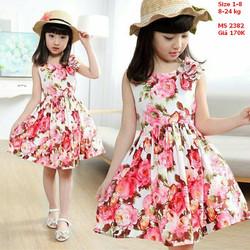 Đầm hoa đính nơ cực xinh cho bé