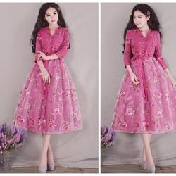 Đầm dạ hội công chúa cổ tích hoa hồng