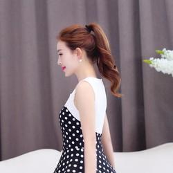 Đầm Bi Xòe Phối Ren Nổi Thời Trang