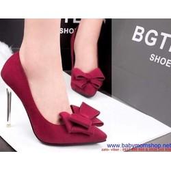 Giày cao gót có nơ mũi nhọn có nơ thời trang , sành điệu GCGN88