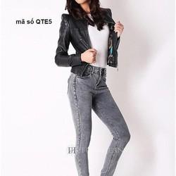 Quần jean nữ 1 nút lưng trễ phong cách sành điệu QTE5