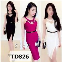 Đầm body dây ngực xẻ đùi kèm belt TD826