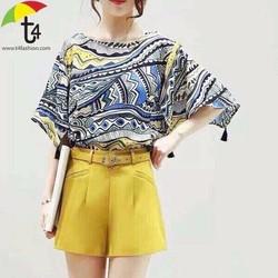 Sét áo thổ cẩm tua rua chuông +Quần short xinh iu - SETKN668