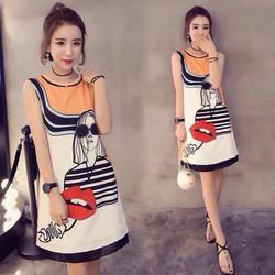 Đầm suông họa tiết cô gái - DA155