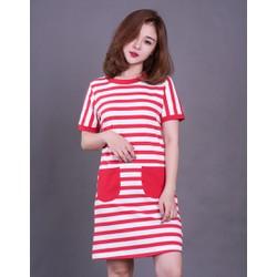 Đầm suông sọc ngang phong cách Hàn Quốc