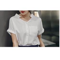 Áo sơ mi trắng blouse cổ V - Hàng thiết kế.