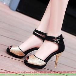 Giày cao gót ánh kim hai khóa tinh tế và sang trọng GCG70