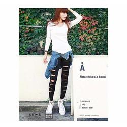 quần legging rách chất thun hoặc da