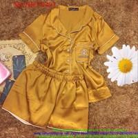 Đồ bộ mặc nhà phi bóng phối viền sành điệu xinh đẹp DBTN493