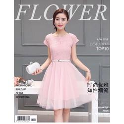 Đầm ren hồng công chúa Korea