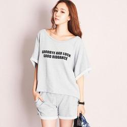 Bộ mặc nhà cotton quần short và áo thun