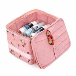 Túi đựng mỹ phẩm họa tiết cherry chống thấm có quai