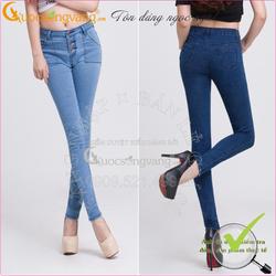 Hàng nhập-Quần Jeans Skinny cao cấp cạp cao co giãn 3 nút thật GLQ002