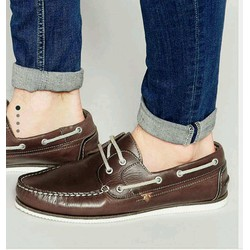 Giầy River island Leather Boat Shoes In Brown