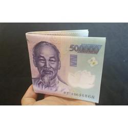 Ví da cao cấp in hình tiền 500k - hàng loại 1 giá tốt