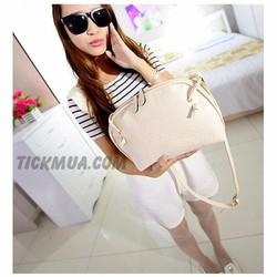 Túi đeo vân vuông màu sắc ngọt ngào Màu trắng_T2028W