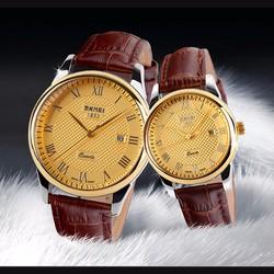 Đồng hồ ĐÔI  dây da SKMEI thương hiệu thời trang uy tín mã SKD002
