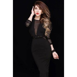 Đầm đen body dài qua gối thiết kế sang trọng, tuyệt đẹp M3502