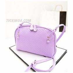 Túi đeo vân vuông màu sắc ngọt ngào Màu tím_T2028T
