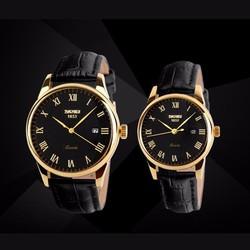 Đồng hồ ĐÔI dây da SKMEI thương hiệu thời trang uy tín mã SKD003