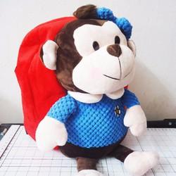 Balo vải nhung hình chú khỉ đáng yêu cho bé