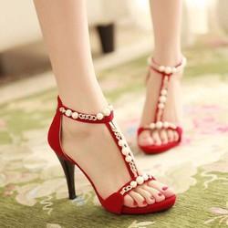 Giày cao gót đính ngọc trai VG01