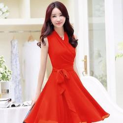Đầm xòe thắt nơ xinh