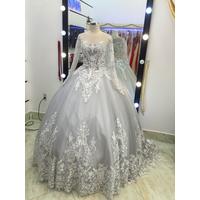 áo cưới tay dai chan ren hoa văn xám mode 2016