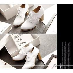 Giày bốt nữ đế thấp màu trắng cực đẹp GBC 14