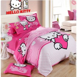 Bộ drap cotton cao cấp mèo hello kitty NB051