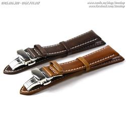 Dây đồng hồ da bò cao cấp khóa bướm inox 18mm, 20mm, 22mm Mã số:D1609