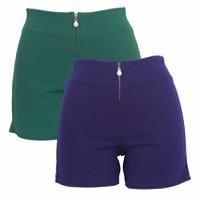 Bộ 2 Quần Short Shorts Sooc Đùi Vải Zip Nữ Co Giãn Chất Đẹp 017C GR N
