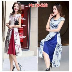 Set áo dài xẻ tà họa tiết kèm chân váy xòe cao cấp hàng nhập khẩu