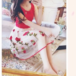 HÀNG NHẬP CAO CẤP - Đầm tùng xòe ren satin lưới hoa hồng