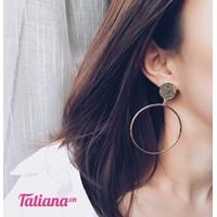 TATIANA - BÔNG TAI KHOEN TRÒN TO MÀU BẠC B2333
