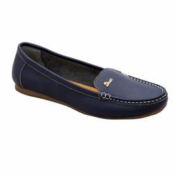 Giày nữ thấp da bò thật ELMI màu xanh đen ESW03
