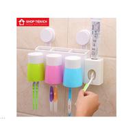 Kệ hút chân không để đồ nhả kem đánh răng tự động kèm 3 cốc
