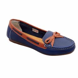Giày nữ thấp da bò thật ELMI màu xanh đen ESW06