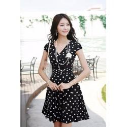 Đầm xòe chấm bi đen