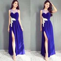 Đầm Dạ Hội Đắp Ren Xẻ Tà Sang Trọng